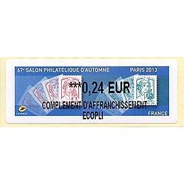 FRANCIA (2013). 67e Salon Philatélique d'Automne - Paris 2013 - Marianne. LISA 2. ATM nuevo (0,24 EUR C. A. ECOPLI)