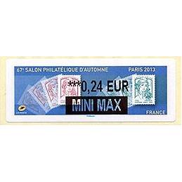 FRANCIA (2013). 67e Salon Philatélique d'Automne - Paris 2013 - Marianne. LISA 2. ATM nuevo (0,24 EUR MINI MAX)