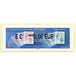 FRANCIA (2013). 67e Salon Philatélique d'Automne - Paris 2013 - Marianne. LISA 2. ATM nuevo (EC 0,56 EUR)