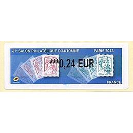 FRANCIA (2013). 67e Salon Philatélique d'Automne - Paris 2013 - Marianne. LISA 2. ATM nuevo (0,24 EUR)