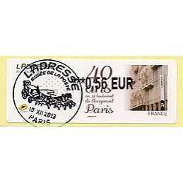 FRANCIA (2013). L'ADRESSE Musée de La Poste - 40 ans au 34 boulevard de Vaugirard. LISA 2. ATM, matasello primer día
