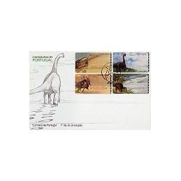 PORTUGAL (1999). Dinosaurios - SMD. Sobre primer día (serie)
