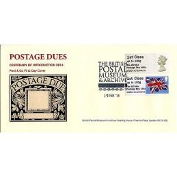 REINO UNIDO (2014). Machin (1) + Union flag - 'The B.P.M.A. Postage Due 1914' - A2GB14 A1. Sobre primer día (B.P.M.A.)