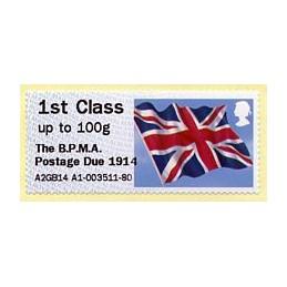REINO UNIDO (2014). Union flag (1) - 'The B.P.M.A. Postage Due 1914' - A2GB14 A1. ATM nuevo