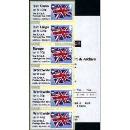 REINO UNIDO (2014). Union flag (1) - 'The B.P.M.A. Postage Due 1914' - A2GB14 A1. Serie 6 valores + recibo