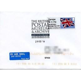 REINO UNIDO (2014). Union flag (1) - 'The B.P.M.A. Postage Due 1914' - A2GB14 A1. Sobre primer día (España)