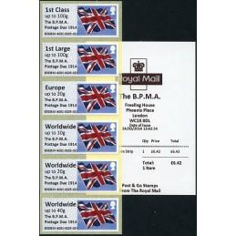 REINO UNIDO (2014). Union flag (1) - 'The B.P.M.A. Postage Due 1914' - B3GB14 A001 (IAR). Serie 6 valores + recibo