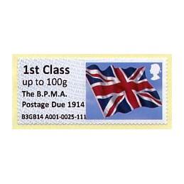 REINO UNIDO (2014). Union flag (1) - 'The B.P.M.A. Postage Due 1914' - B3GB14 A001 (IAR). ATM nuevo (1st Class)