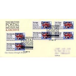 REINO UNIDO (2014). Union flag (1) - 'The B.P.M.A. Postage Due 1914' - B3GB14 A001 (IAR). Sobre primer día (serie)