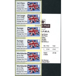 REINO UNIDO (2014). Union flag (1) - 'The B.P.M.A. Postage Due 1914' - B4GB14 A001 (IAR). Serie 6 valores + recibo (Marzo 2014)