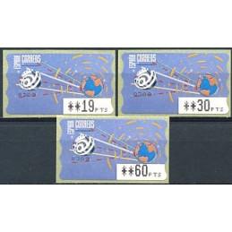 ESPAÑA (1996). 14.1. Globo terrestre y espacio (2 - azul claro). Epelsa PTS-4 CB. Serie 3 valores
