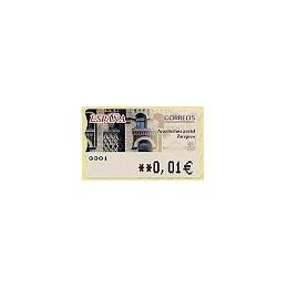 ESPAÑA. 75. Arqu. postal - Zaragoza. 5A. ATM nuevo (0,01)