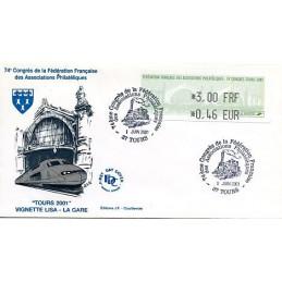 FRANCIA (2001). Fédération Française Associations Philatéliques - 74e Congrès - Tours 2001. Sobre primer día
