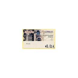 ESPAÑA. 75. Arqu. postal - Zaragoza. 4E. ATM nuevo (0,01)