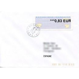 FRANCIA (2014). Aviones papel (2) - Agence Postale Communale. Sobre a España (0,83)