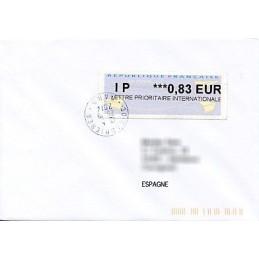 FRANCIA (2014). Aviones papel (2) - Agence Postale Communale. Sobre a España (IP 0,83)