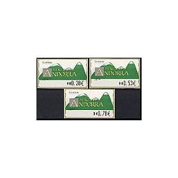ANDORRA. Montañas verdes- 4. EUR-5E-0280. Serie 3 val. (2005)