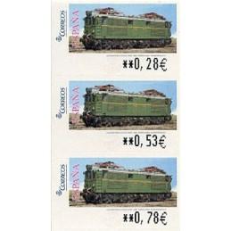 ESPAÑA (2005). 128. Locomotora Estado Serie 1000. Ferrocarril transpirenaico. SERVICIO FILATÉLICO. Tira 3 sellos