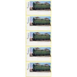 ESPAÑA (2005). 128. Locomotora Estado Serie 1000. Ferrocarril transpirenaico.  Etiquetas en blanco, tira de cinco