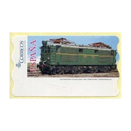 ESPAÑA (2005). 128. Locomotora Estado Serie 1000. Ferrocarril transpirenaico.  Etiqueta en blanco