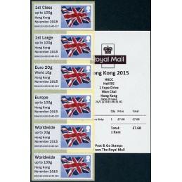 REINO UNIDO (2015). Bandera del Reino Unido (Union flag) - 'Hong Kong November 2015' - BNHK15 A009. Serie 6 valores + recibo