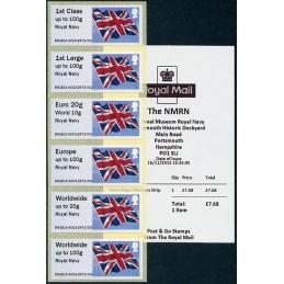 REINO UNIDO (2015). Bandera del Reino Unido (Union flag) - 'Royal Navy' - BNGB15 A002. Serie 6 valores + recibo