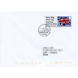 REINO UNIDO (2015). Bandera del Reino Unido (Union flag) - 'Hong Kong November 2015' - BNHK15 A009. Sobre primer día (España)