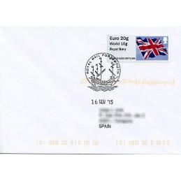 REINO UNIDO (2015). Bandera del Reino Unido (Union flag) - 'Royal Navy' - BNGB15 A002. Sobre primer día (España)