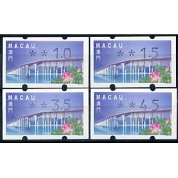 MACAU (2001). Puente - Ponte 'Flor de Lótus' - REIMP 2000 - Klüssendorf. Serie 4 valores (2001)