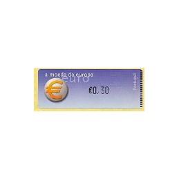PORTUGAL (2002). Euro, a moeda - Crouzet negro. ATM nuevo (0,30)