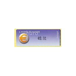 PORTUGAL (2002). Euro, a moeda - Crouzet negro. ATM nuevo (0,01)