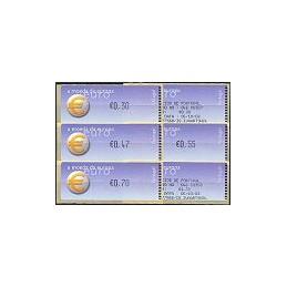 PORTUGAL (2002). Euro, a moeda - Crouzet negro. Serie 4 val. + r