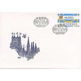 ESLOVAQUIA (2001). Logotipo correo. Sobre primer día