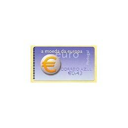 PORTUGAL (2002). Euro, a moeda - NewVision. ATM + rec. (C. AZUL)
