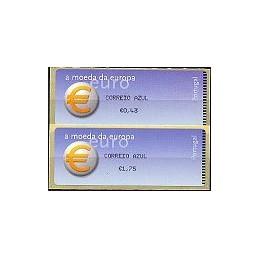 PORTUGAL (2002). Euro, a moeda - Crouzet negro. Serie 2 val.