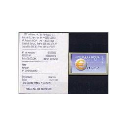 PORTUGAL (2002). Euro, a moeda - Amiel negro. ATM nuevo + rec.