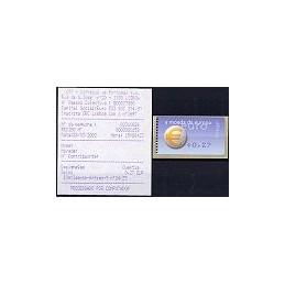 PORTUGAL (2002). Euro, a moeda - Amiel - coma. ATM nuevo + rec.