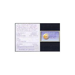 PORTUGAL (2002). Euro, a moeda - Amiel - coma. ATM + rec. (C. AZ