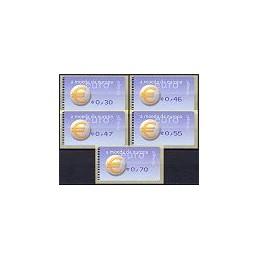 PORTUGAL (2002). Euro, a moeda - Amiel - coma. Serie 5 val.