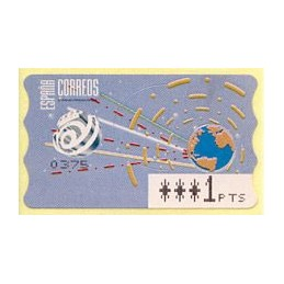 ESPAÑA (1996). 14.1. Globo terrestre y espacio (2 - azul claro). Epelsa PTS-4 CB. ATM nuevo ( 1 PTS)