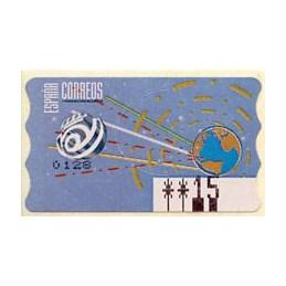 ESPAÑA (1996). 14.1. Globo terrestre y espacio (2 - azul claro). Epelsa PTS-4 CB. ATM nuevo (15 PTS) - ERROR