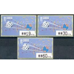 ESPAÑA (1996). 14.1. Globo terrestre y espacio (2 - azul claro). Mobba PTS. Serie 3 valores