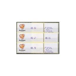 PORTUGAL (2003). Euro 2004 - Crouzet violeta. Serie 4 val. + rec