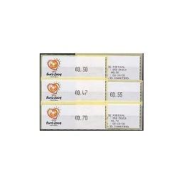 PORTUGAL (2003). Euro 2004 - Crouzet negro. Serie 4 val. + rec.
