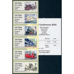 REINO UNIDO (2016). 09. Royal Mail Heritage - Transport - 'Liverpool 2016' - C9GB16 M007 (Labour Conference). ATMs nuevos