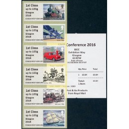 REINO UNIDO (2016). 10. Royal Mail Heritage - Transport - 'Glasgow 2016' - COGB16 M007 (SNP Conference). ATMs nuevos + recibo