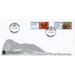 GIBRALTAR (2017). Monos de Gibraltar + Year of the Rooster - B2GB17 GI01 (Spring Stampex 2017). Sobre primer día