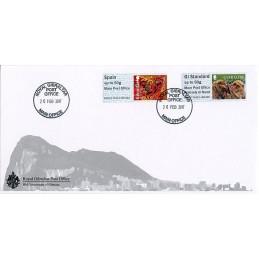 GIBRALTAR (2017). Monos de Gibraltar + Year of the Rooster - B2GI17 GI02 (Main Post Office). Sobre primer día + recibo