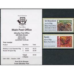 GIBRALTAR (2017). Monos de Gibraltar + Year of the Rooster - B2GI17 GI02 (Main Post Office). ATMs nuevos + recibo