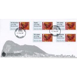 GIBRALTAR (2017). Year of the Rooster - B2GB17 GI01 - ' Gibraltar House '. Sobre primer día (serie) + recibo